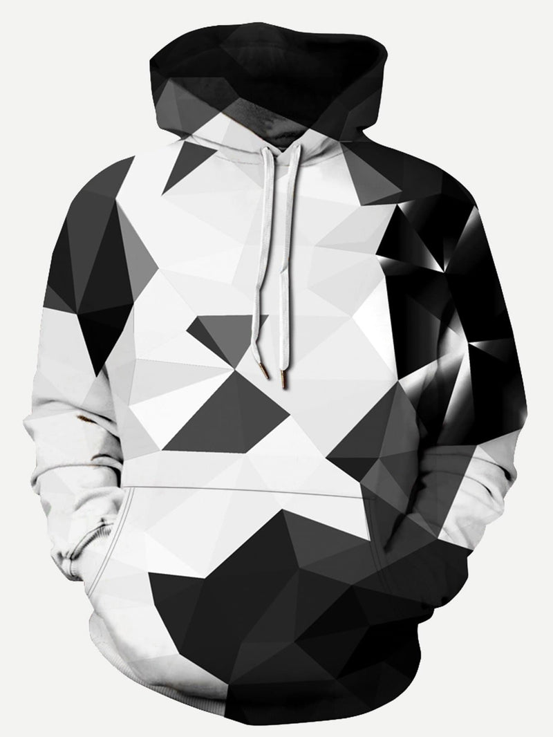 Mens 3D Geo Print B&W Hooded Sweatshirt