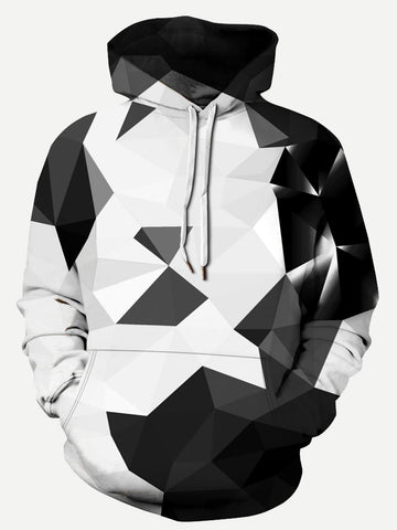 Mens Abstract Geo Print BWR Hooded Sweatshirt