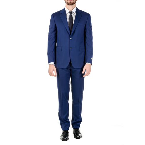Canali Mens Suit Long Sleeves Blue Travel Natural Comfort