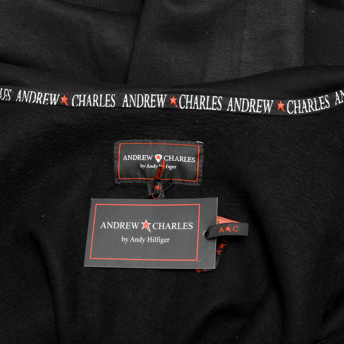 Andrew Charles Mens Hoodie with Zip Long Sleeves Round Neck Black FELA