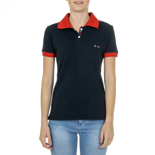 Andrew Charles Womens Polo Short Sleeves Dark Blue NIA