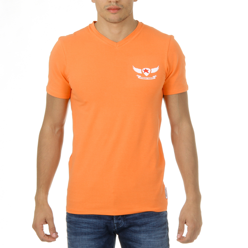 Andrew Charles Mens T-Shirt Short Sleeves V-Neck Orange KENAN