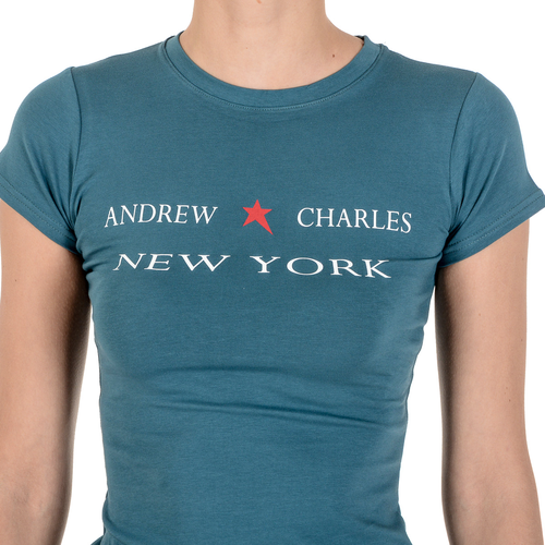 Andrew Charles Womens T-Shirt Short Sleeves Round Neck Green TARANA