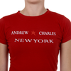 Andrew Charles Womens T-Shirt Short Sleeves Round Neck Red TARANA
