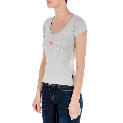 Andrew Charles Womens T-Shirt Short Sleeves V-Neck Grey TAPIWA