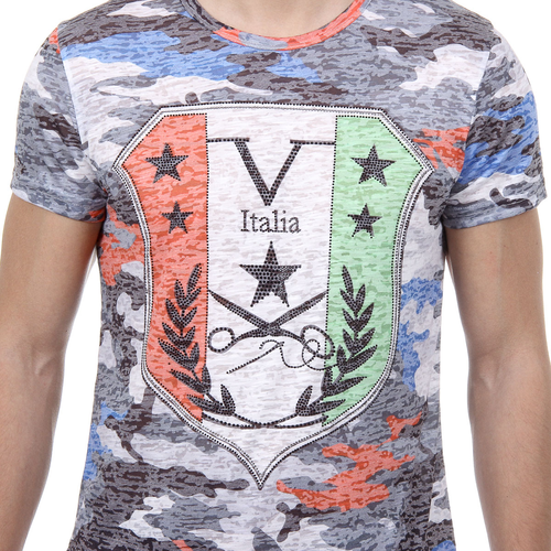 V 1969 Italia Mens T-shirt Short Sleeves Round Neck Multicolor OWEN