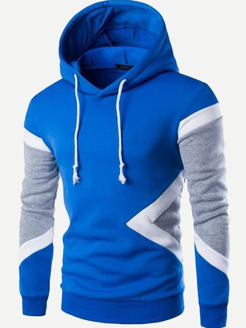 Mens Color Block Hooded Sweatshirt Blue