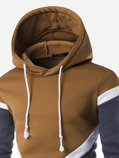 Mens Color Block Hooded Sweatshirt Brown