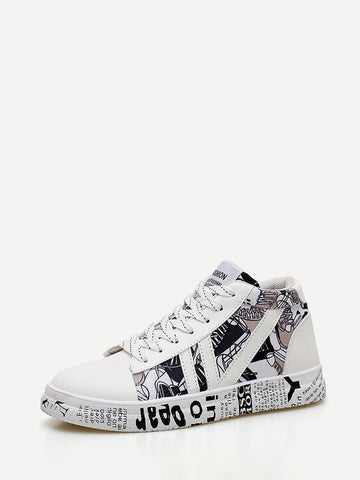 Men Slogan Detail Lace Up Sneakers