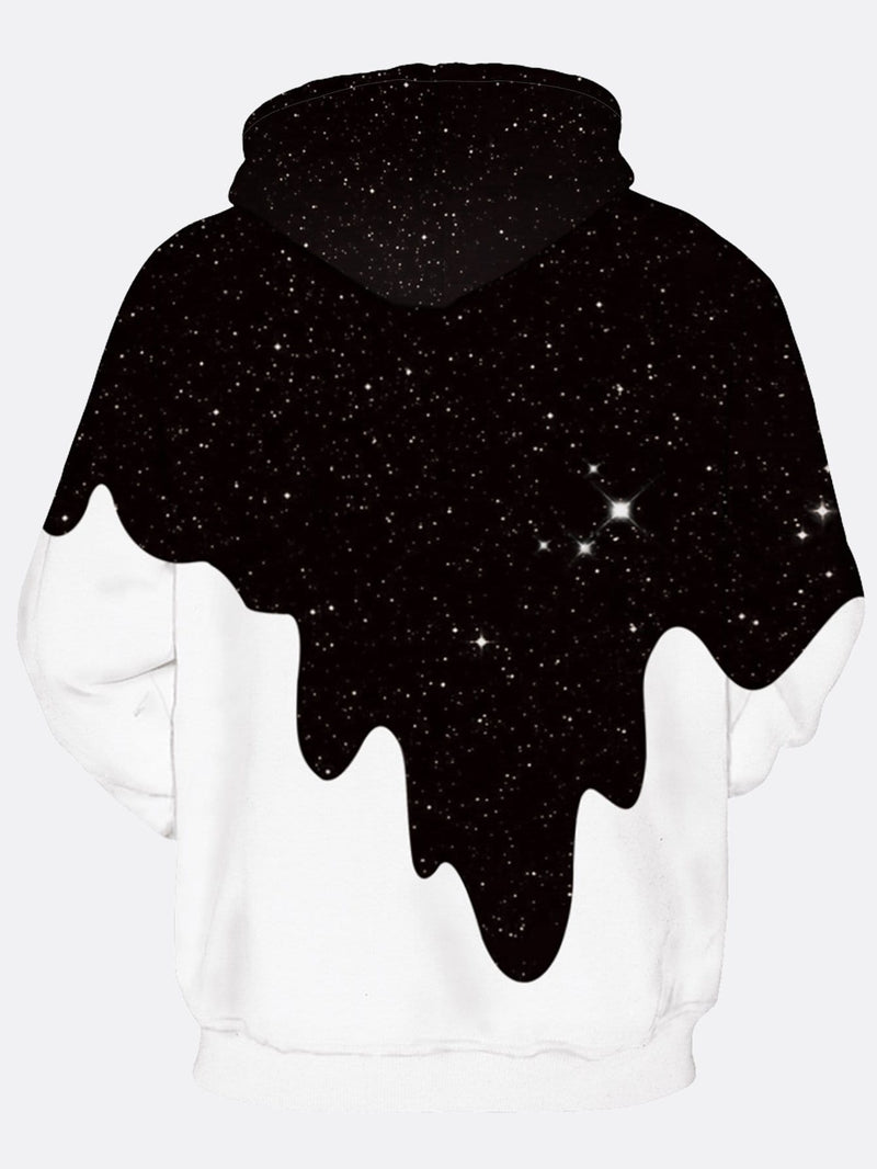Mens Drip Print Hooded Sweatshirt