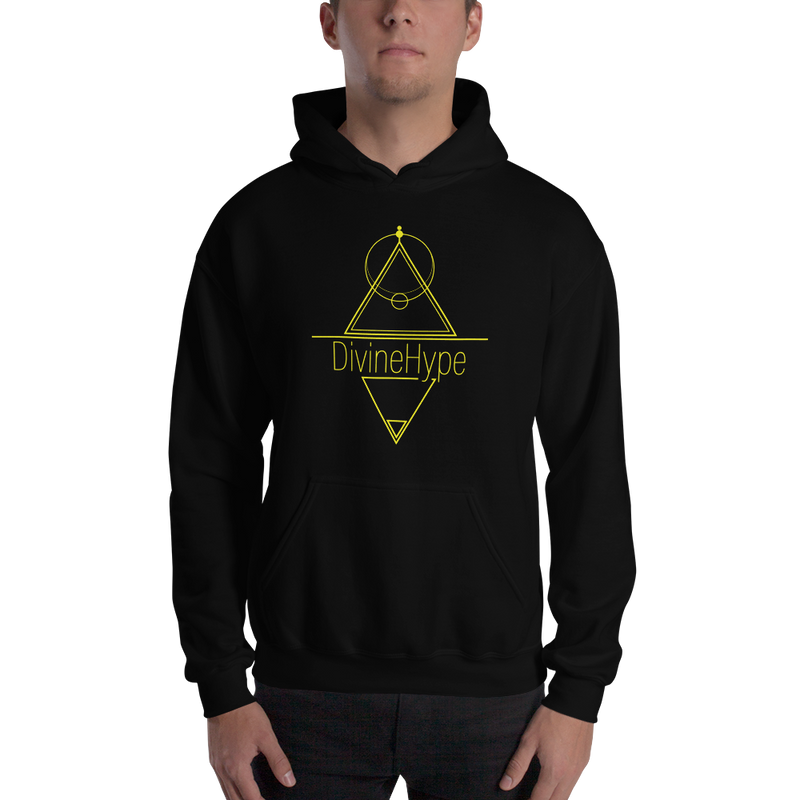 DivineHype Geometric Yellow Print Hooded Sweatshirt Unisex