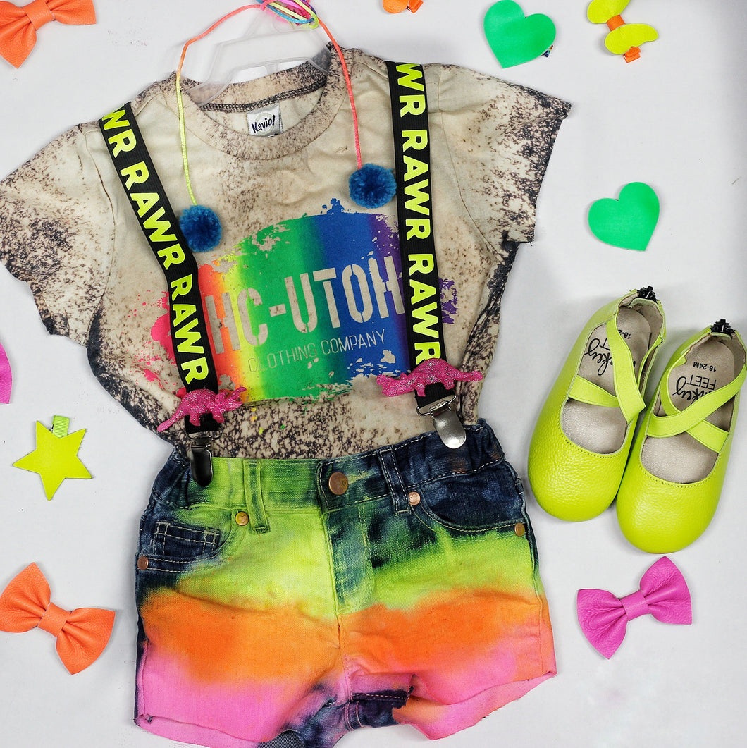 Electric Citrus Neon Denim Shorts