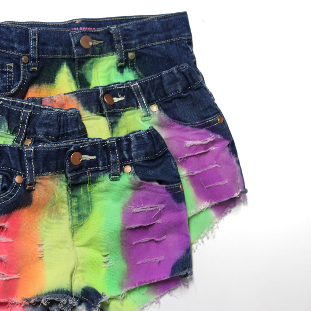 Neon Rainbow Denim Shorts Ii