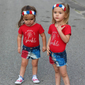 Girls Red White and Blue Sparkle Razzles Denim Shorties
