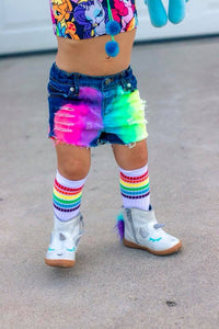 Neon Rainbow Denim Shorts