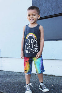Boys Full Rainbow Denim Shorts