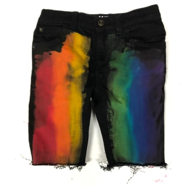 Boys Primary Rainbow on Black denim Shorts