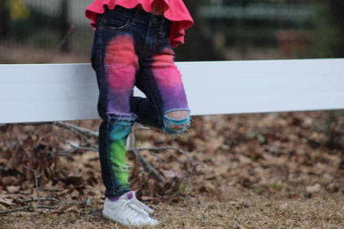 Girls Neon MIX Jeans Style 1