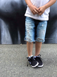Boys Dark Rinse Acid Wash Denim Shorts