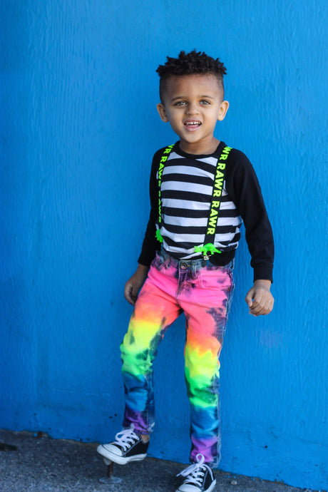 Boys Full Neon Rainbow Skinny Jeans or Shorts