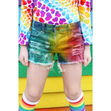 3 color Primary Rainbow Denim Shorts