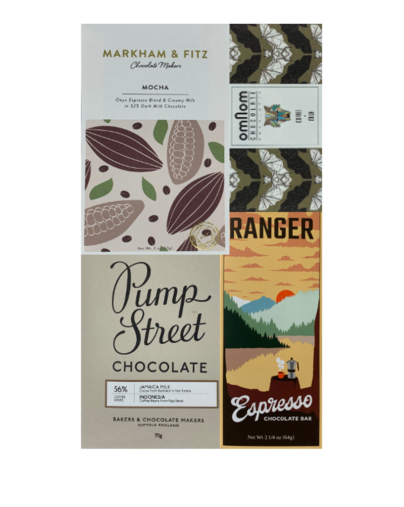 Coffee-Infused Chocolate Bundle - 4 bars - FREE SHIPPING