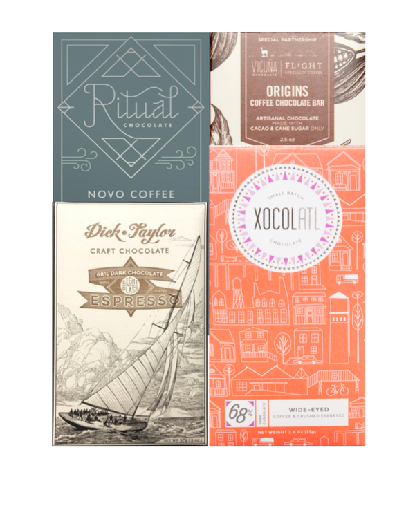 Coffee-infused Chocolate Selection - 4 bar subscription bundle - FREE SHIPPING