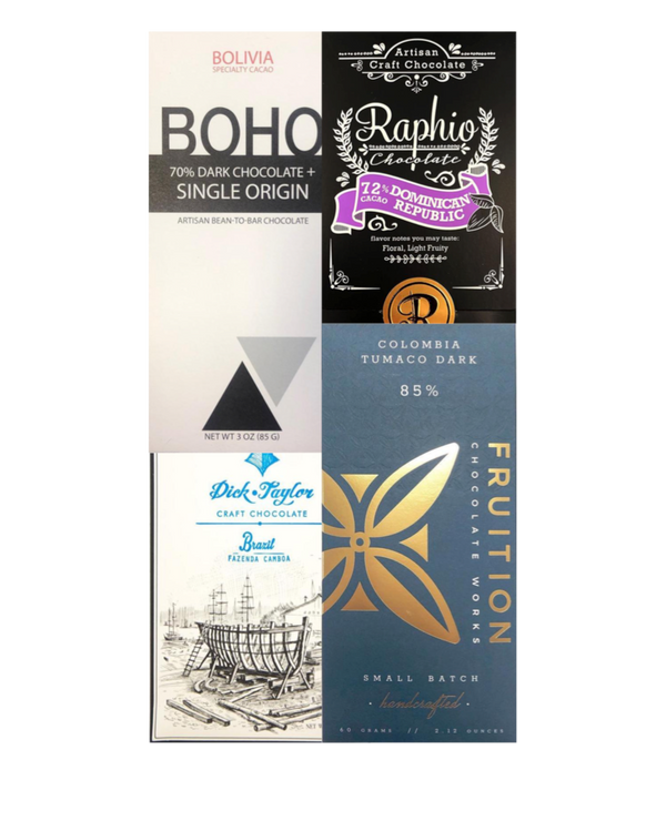 Dark Chocolate Selection - 4 bar subscription bundle - FREE SHIPPING