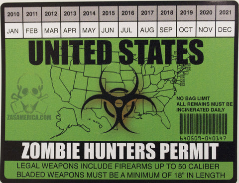 Zombie Hunters Permit United States