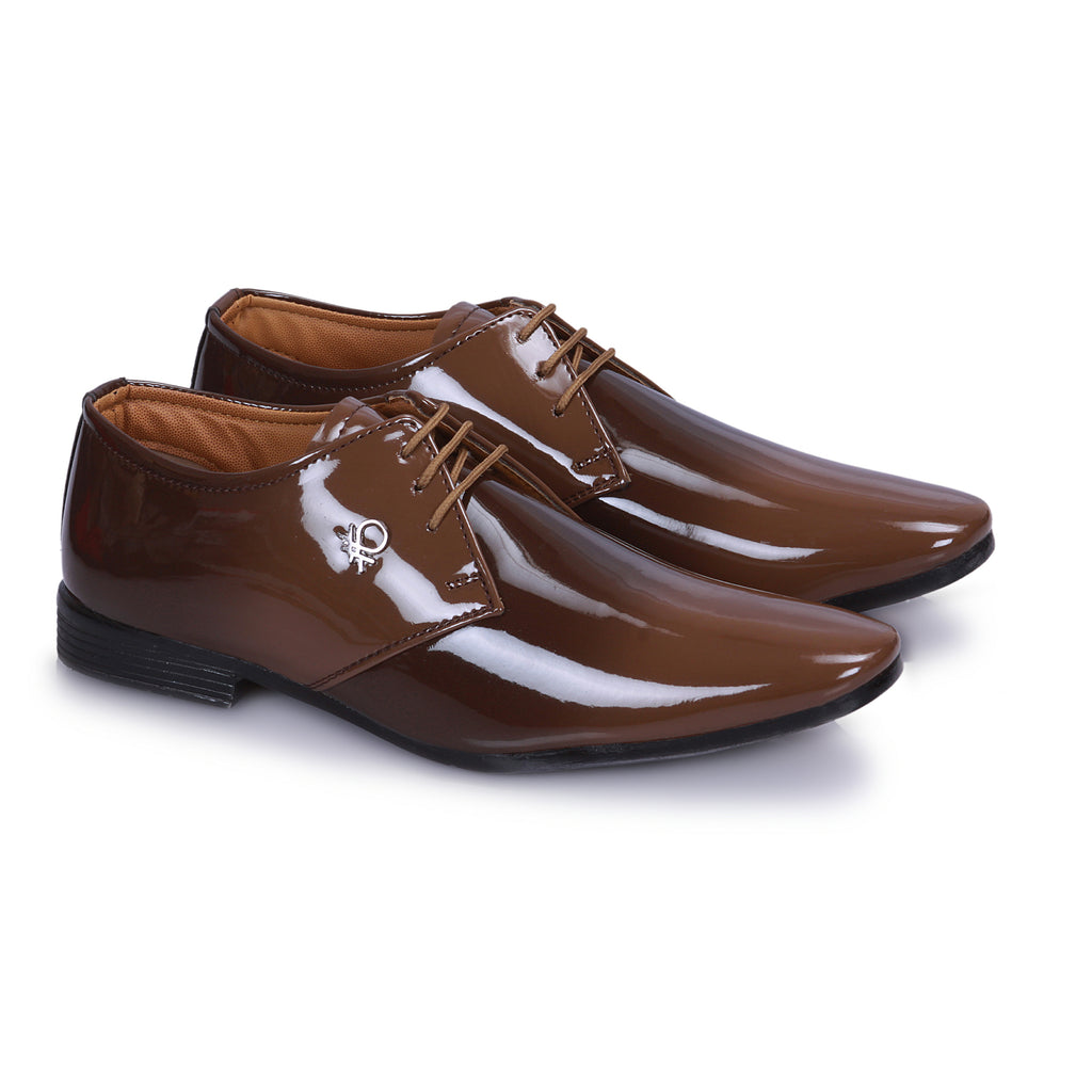 Tan And Black Derby Shoes