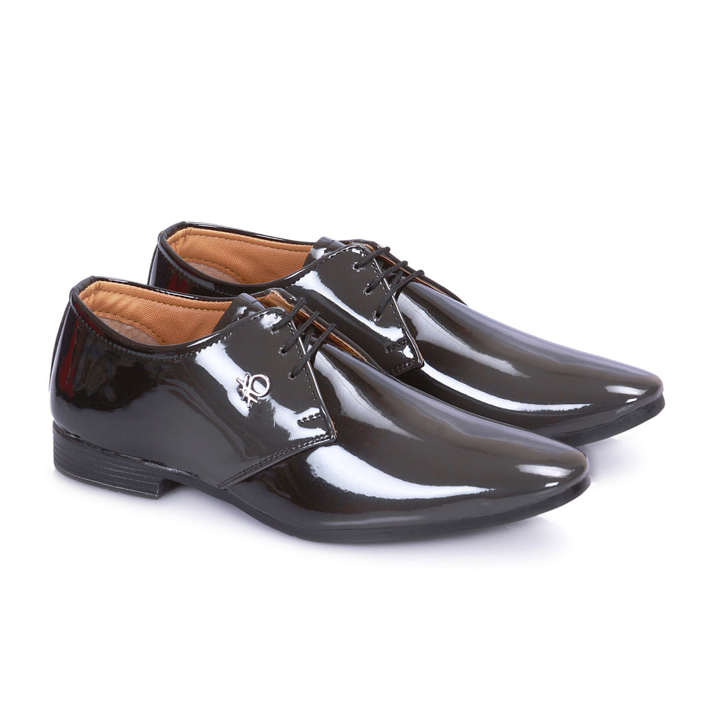 Gray And Black Shiney Derby Shoes