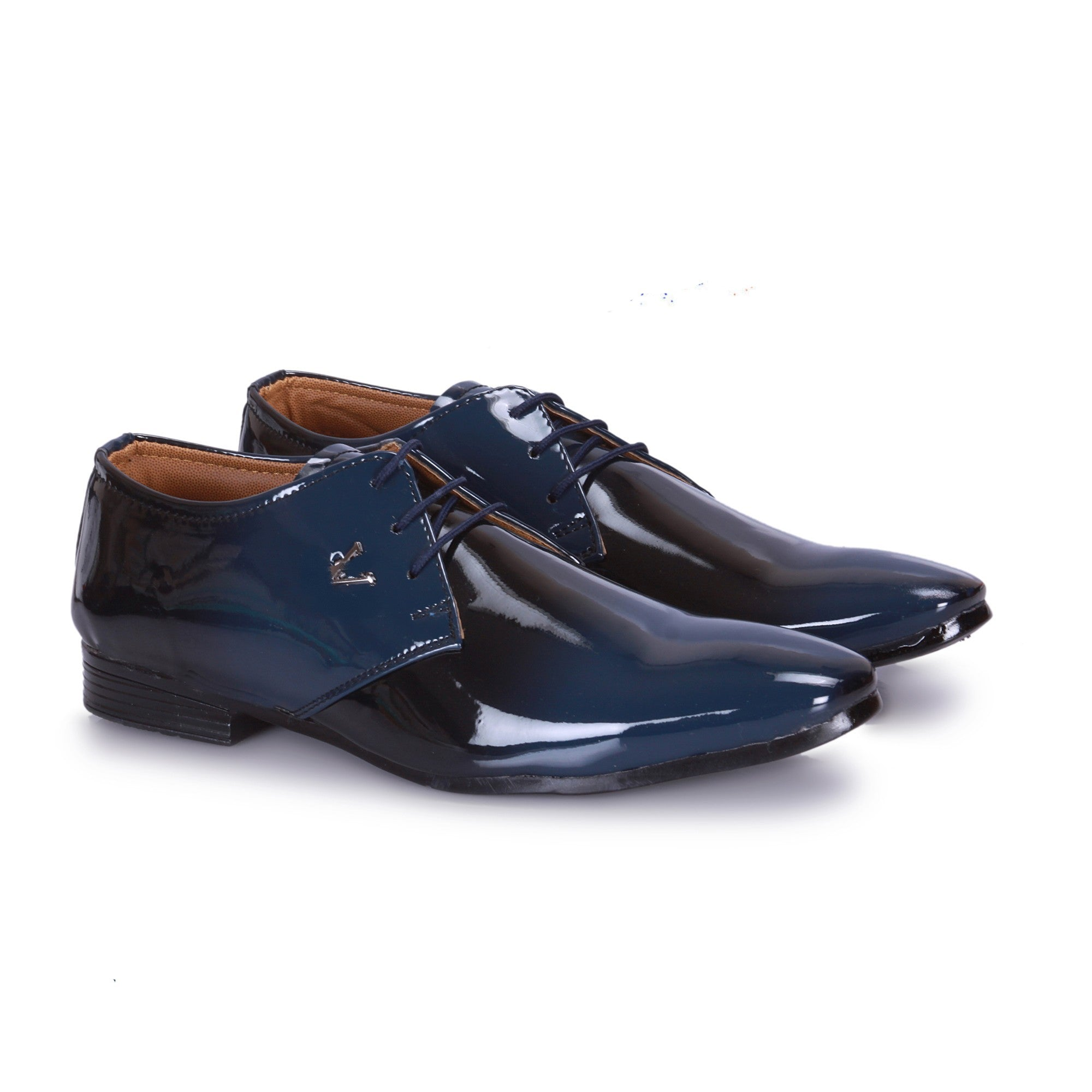 Black And Blue Shiney Derby Shoe