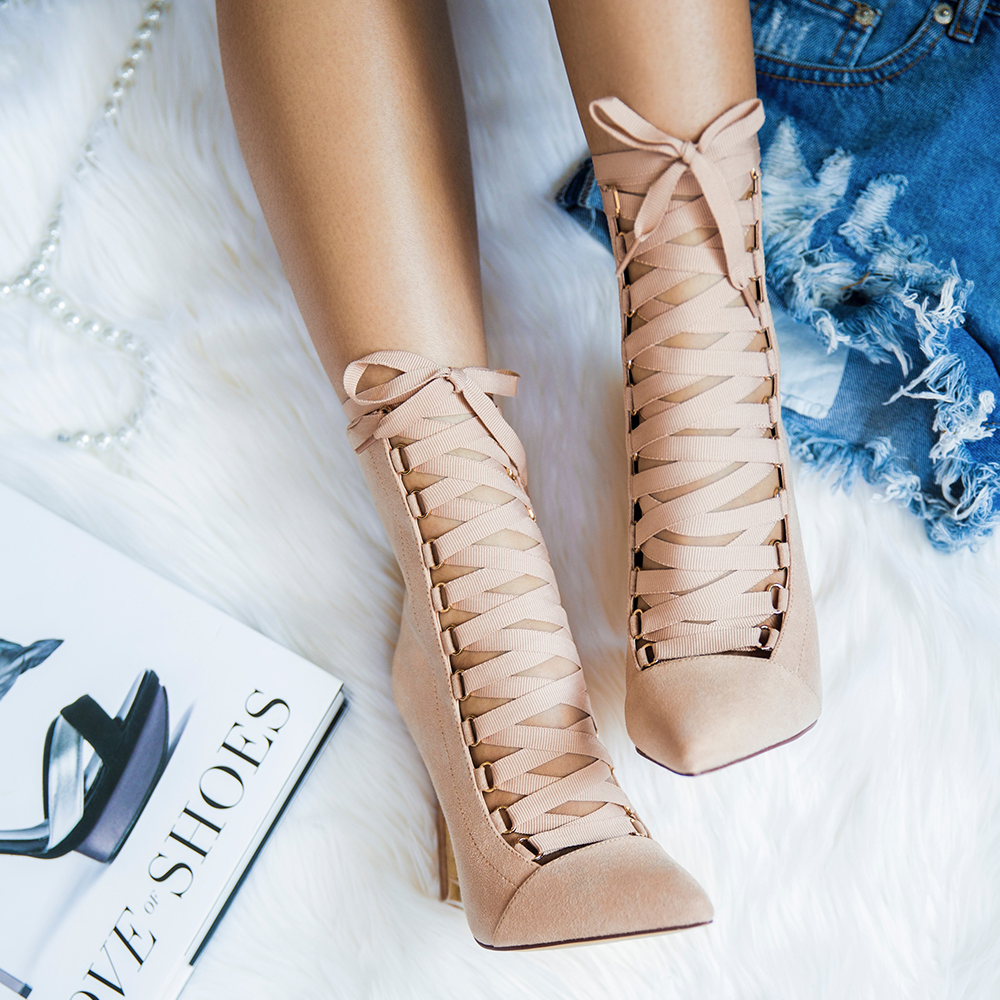 The AVALON Lace Up Bootie in Nude Suede at FLYJANE