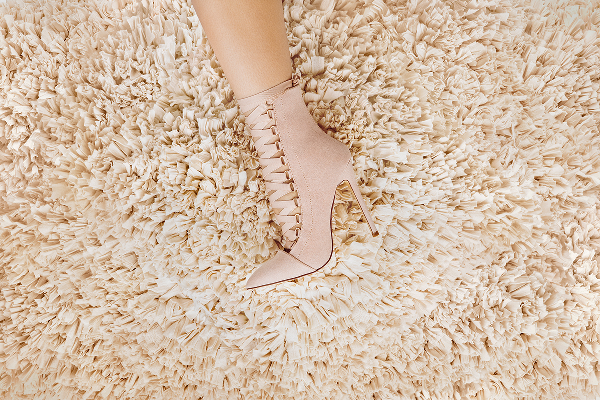 The AVALON Bootie in Nude Suede at FLYJANE