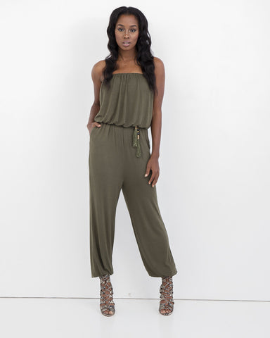 ALINA Strapless Jumpsuit at FLYJANE | Strapless Jersey Jumpsuit | Olive Jumpsuit | Fall Fashion 2015 | Cute Pieces at FLYJANE