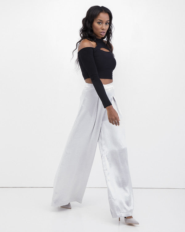 THE DOSSIER Wide Leg Satin Pants in Silver at FLYJANE | Solace London Wide Leg Pants | Silver Wide Leg Trousers | Contemporary Wide Leg Pants by Endless Rose