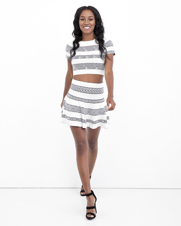 NO GREY AREA High Waist Flare Skirt Set at FLYJANE