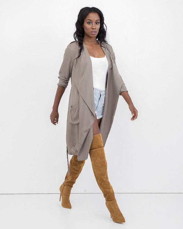 SMOOTHER CRIMINAL Lightweight Trench Coat at FLYJANE | Taupe Trench Coat | Kim Kardashian Trench Coat | Contemporary Clothing for Less at FLYJANE