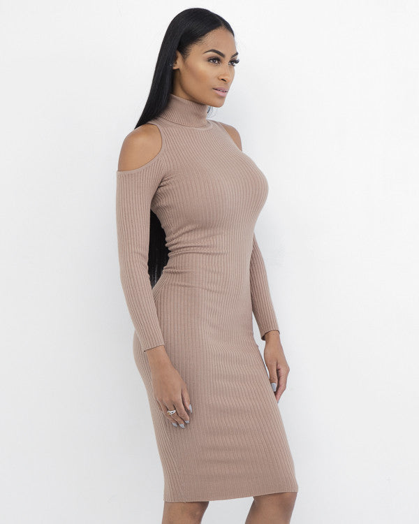 MIDORI Open Shoulder Knit Midi Dress at FLYJANE | Cute Open Shoulder Dress by Olivaceous | Sexy Knit Dresses for Curvy Girls at FLYJANE
