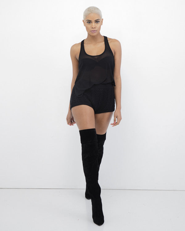 THE SWEAT HER Cable Knit Shorts in Black at FLYJANE | Black Shorts | Black Sweater Shorts | Rehab Sweater Shorts | Contemporary Fashion under $100
