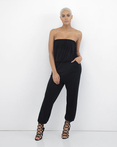 ALINA Strapless Jumpsuit at FLYJANE | Strapless Jersey Jumpsuit | black Jumpsuit | Fall Fashion 2015 | Cute Pieces at FLYJANE