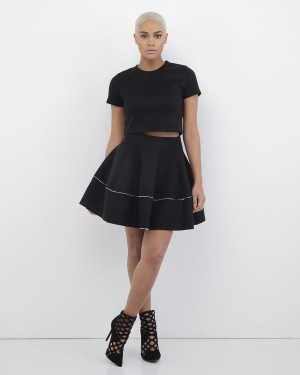 ALEXA Pleated Skuba Skirt Set in Black by Renamed at FLYJANE | black scuba skirt   A-line Skirts | Flowy Skirts | Cute Christmas Party Outfits | Black Skirts