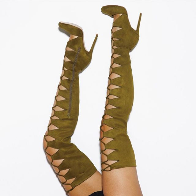 CHAOS LACE UP THIGH HIGH SUEDE BOOTS - OLIVE