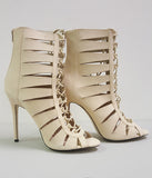 CELESTINE LACE UP BOOTIE - NUDE (SAMPLE)
