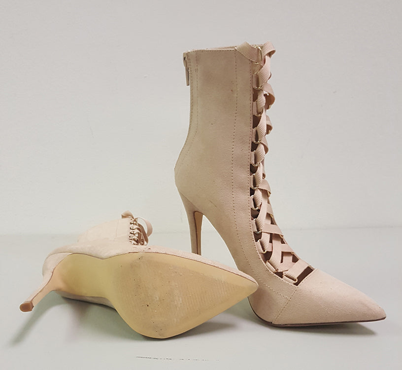 THE AVALON LACE UP BOOTIE - NUDE (SAMPLE)