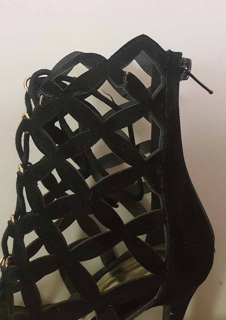 BRIELLE LATTICE BOOTIE - BLACK (SAMPLE)