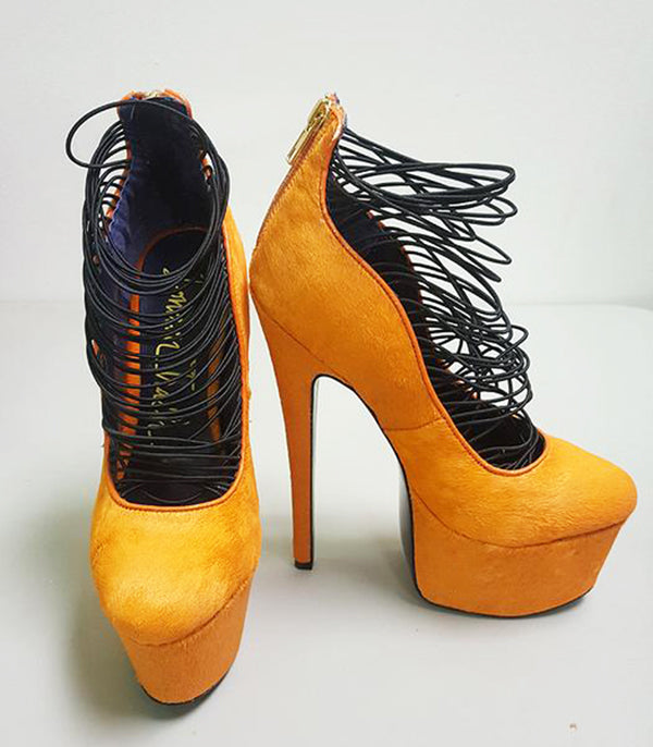 LONDON TRASH CERES PLATFORM PUMP - NEON ORANGE (SAMPLE)