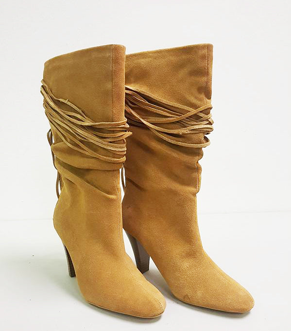 MICHAEL ANTONIO MACAW SLOUCH FRINGE BOOTS (SAMPLE)