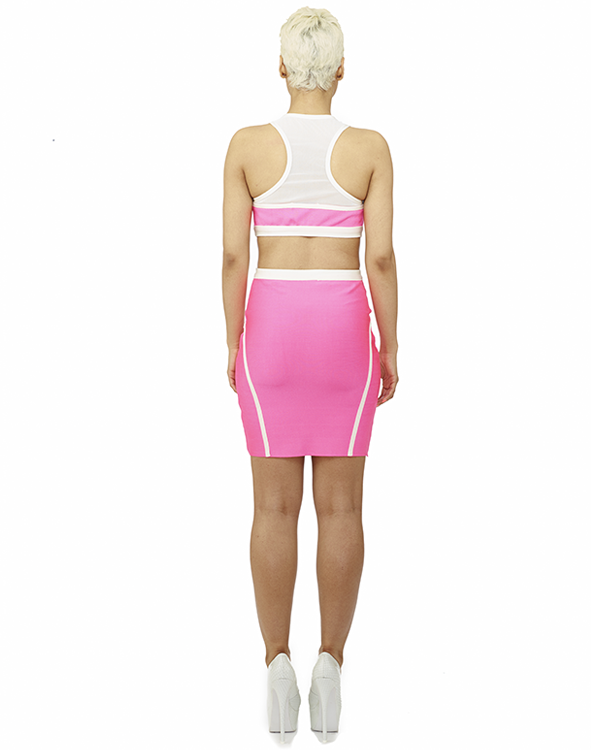 Block Party Bandage 2 PC Set in Hot Pink at FLYJANE