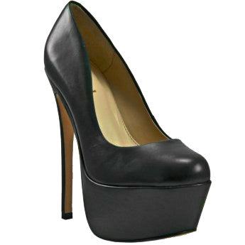 Zigi Girl SPYGLASS Platform Pump in Black Leather at FLYJANE